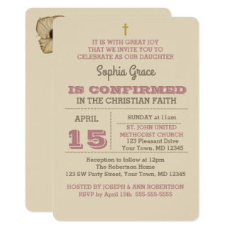 Dusty Rose & Beige Confirmation Invitation