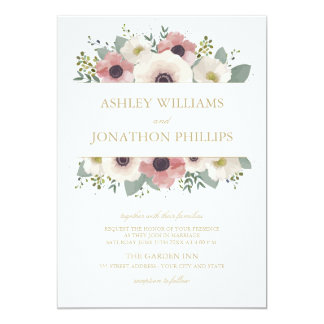 Dusty Rose Bouquet Wedding Invitation