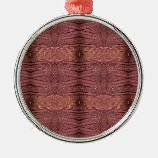 Dusty Rose Burgundy Modern Funky Pattern Metal Ornament