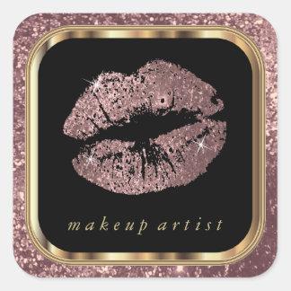 Dusty Rose Glitter Lips and Stylish Gold Font Square Sticker
