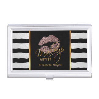 Dusty Rose Glitter Lips and White Stripes Business Card Holder
