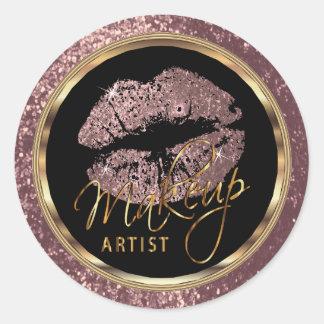 Dusty Rose Glitter Lips On Dark Rose Glitter Round Sticker