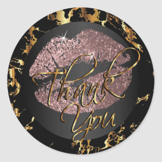 Dusty Rose Glitter Lipstick - Thank You Classic Round Sticker