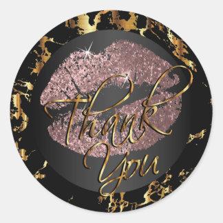 Dusty Rose Glitter Lipstick - Thank You Round Sticker
