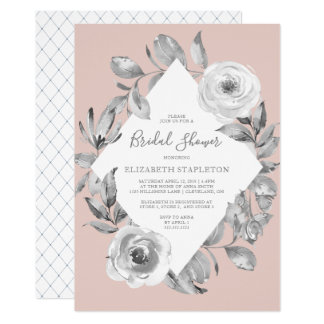 Dusty Rose Pink Floral Diamond Bridal Shower Card