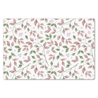 Dusty Rose Pink Green Leaves Tissue Paper