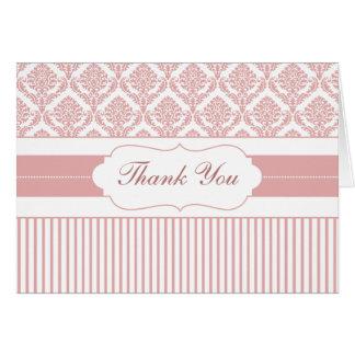 dusty rose pink stripes damask ThankYou Cards