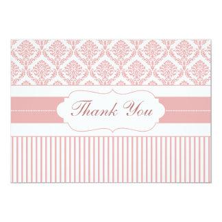 dusty rose pink stripes damask ThankYou Cards Invitation