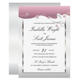 Dusty Rose Swirly Floral Design Wedding Invitation