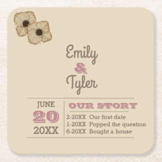 Dusty Rose & Taupe Personalized Wedding Square Paper Coaster