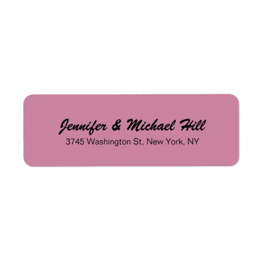 Dusty Rose Unique Creative Script Family Name Return Address Label