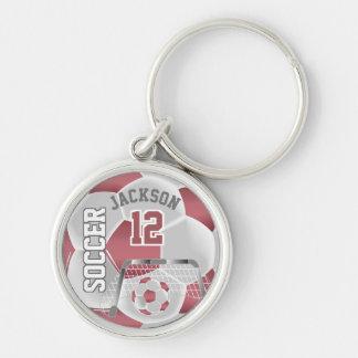 Dusty Rose & White Team Soccer Ball Key Ring