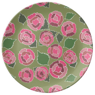 Dusty Roses in Pink Porcelain Plate