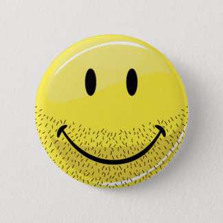 Dusty Ruff Bearded Smiley Face 6 Cm Round Badge