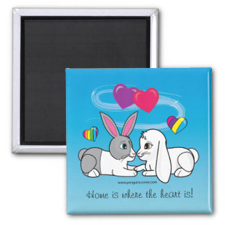 Dutch and Lop Rabbit : where the heart is Square Magnet
