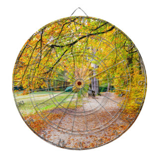 Dutch autumn landscape with footpath and tree dartboard