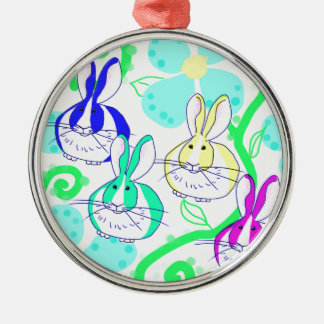 Dutch bunnies in the flowers metal ornament