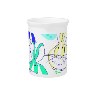 Dutch bunnies in the flowers pitcher