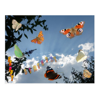 Dutch Butterflies Happy Birthday Postcard