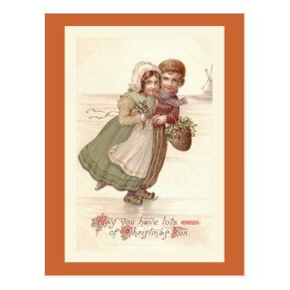 """Dutch Children Skating"" Christmas Postcard"