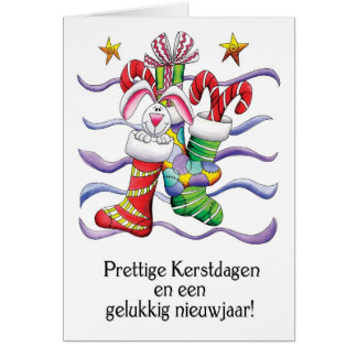 Dutch - Christmas Stocking With Rabbit And Gifts - Card