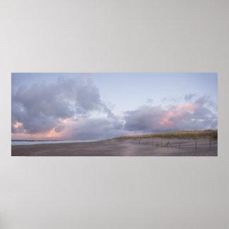 Dutch coast sunset panorama poster