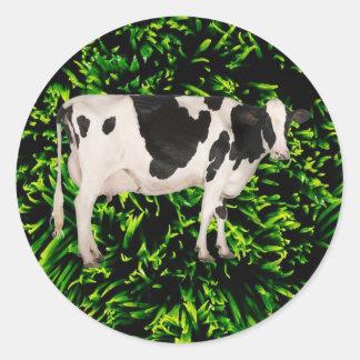 Dutch cow cutout classic round sticker