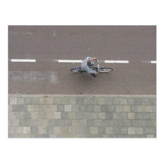 Dutch cyclist on street from above Photo Card