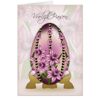 Dutch Easter Card With Decorated Egg And Daffodils