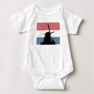 Dutch flag and windmill baby bodysuit
