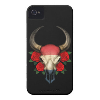 Dutch Flag Bull Skull with Red Roses Case-Mate iPhone 4 Case