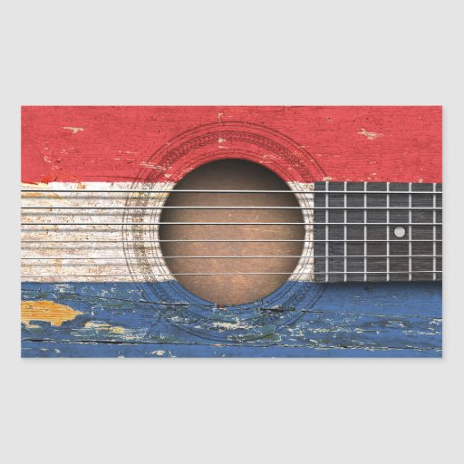 Dutch Flag on Old Acoustic Guitar Stickers