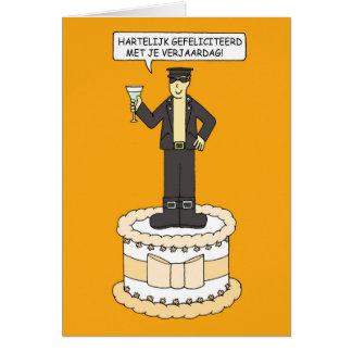Dutch gay birthday, for man in leather. card