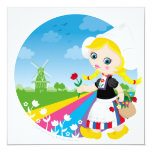 Dutch girl 13 cm x 13 cm square invitation card