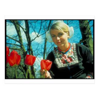 Dutch girl  red tulips postcard