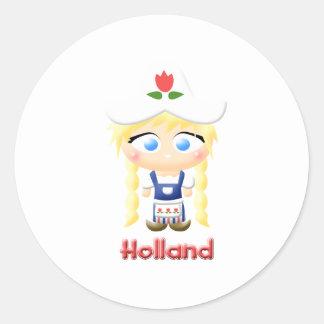 Dutch Girl Round Sticker