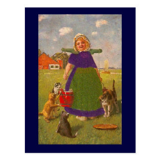 Dutch girl with buckets and cats postcard