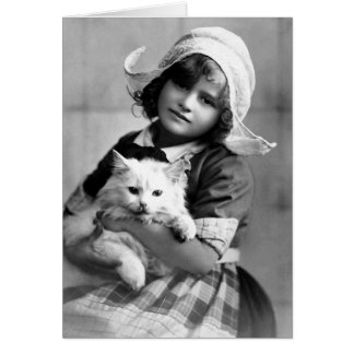 """Dutch Girl with Cat"" Vintage Photograph Card"