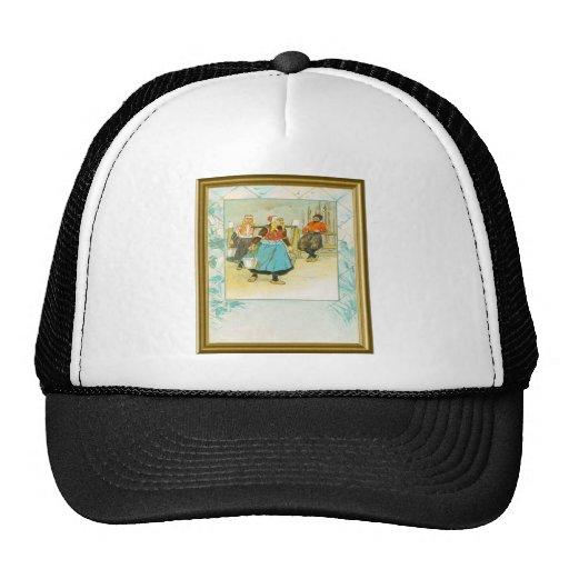 DUtch girls in traditional costume Mesh Hat