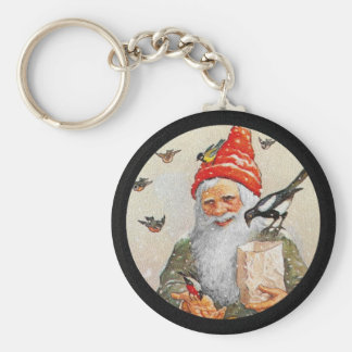 Dutch Gnome Feeding the Birds Basic Round Button Key Ring