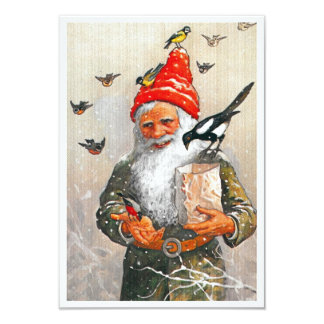 Dutch Gnome Feeding the Birds Card