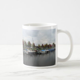 Dutch Harbour with Green & Red Trees Panoramic Mug