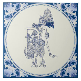 Dutch-Indonesian Shadow Puppet Delft Tile