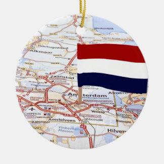 Dutch map and the dutch flag ceramic ornament