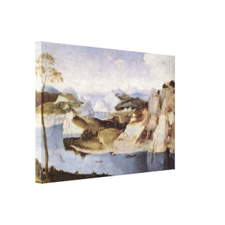 Dutch Master - river landscape with an artist Gallery Wrap Canvas