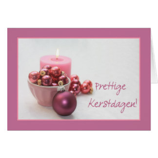 dutch merry christsmas  pink ornaments christmas c card