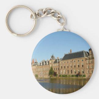 Dutch parliament buildings reflected in Hofvijver Key Ring