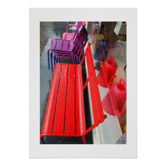 Dutch Photograph Window Reflection and Bench Poster