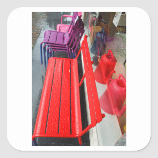 Dutch Photograph Window Reflection and Bench Square Sticker