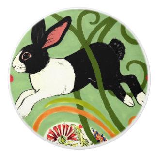 Dutch Rabbit Green Art Deco Drawer Pull Door Knob